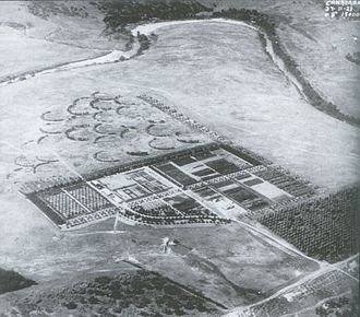 Yarralumla, Australian Capital Territory - Yarralumla nursery from the air with the Molonglo River in the background, taken in 1923