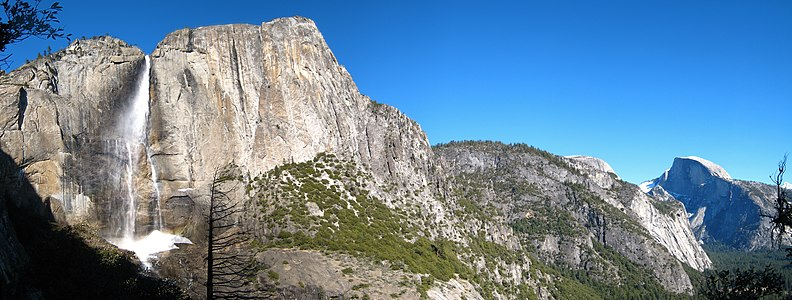 Yosemite Falls and Half Dome in the winter Yosemite Falls and Half Dome.jpg