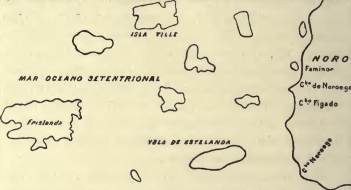 Et utsnitt av Juan de la Cosa's Mappa Mondo 1500, fra Al. Humholdts store kart i Rxam. crit. V. 1823.