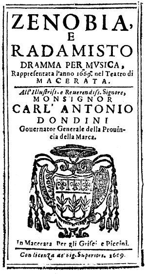 Zenobia e Radamisto - Front page of the libretto printed for the 1669 performance in Macerata
