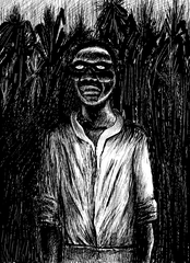 Illustration of a Haitian Zombi in a sugar-cane plantation, via Wikimedia Commons