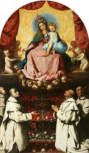 National Museum, Poznań - Virgin of the Rosary Venerated by Carthusians, Francisco de Zurbaran, circa 1637-1639.