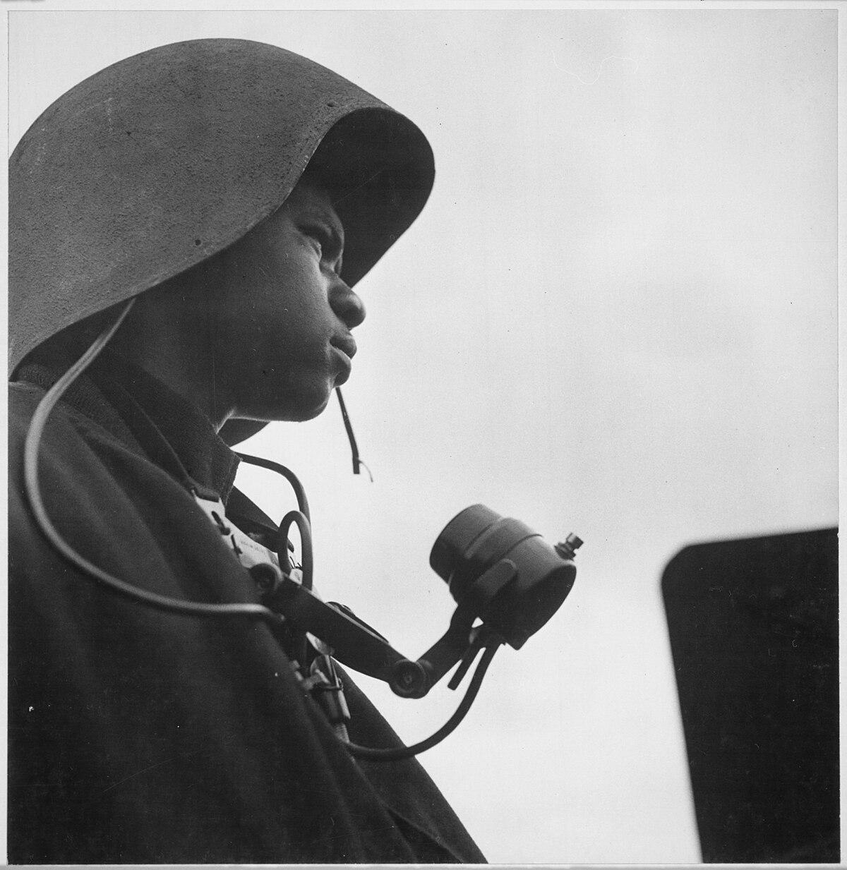 "File:""Richard Salter, CK 3-c, a talker of a gun station, aboard the U.S.S. Tulagi (CVE-72) off the coast of southern France."" - NARA - 520858.jpg - Wikimedia Commons"