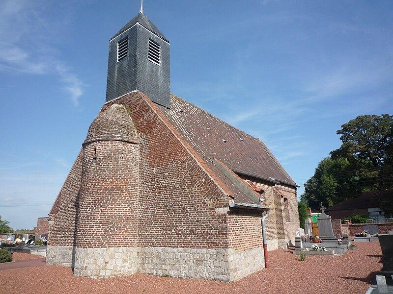 Église d'Émerchicourt, Nord, Nord-Pas-de-Calais, France.