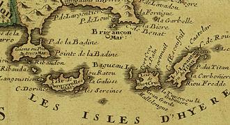 Dtail Dune Ancienne Carte De 1707 Par Jean Nicolas Tralage Montrant Les Et La Baie DHyres Sur Laquelle Le Fort Est Mentionn