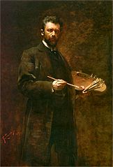 Self-portrait with a palette.