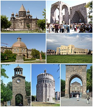 Mother See of Holy Etchmiadzin, from top left: Etchmiadzin Cathedral • Gate of Saint Gregory and the AltarGevorkian Seminary • Vatche and Tamar Manoukian Manuscript LibraryClock tower • Church of the Holy Archangels • Gate of King Trdat and Veharan Pontifical Residence
