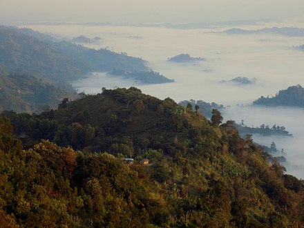Mountain trekking is a popular activity in the Bandarban District nilgiri 06.JPG