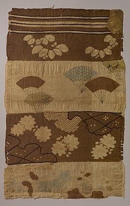 縞平絹地草花扇面雪輪雲模様辻が花 裂-Tsujigahana Textile with Horizontal Stripes, Flowering Plants, Fans, Snowflakes, Clouds, and Bellflowers MET DP104360