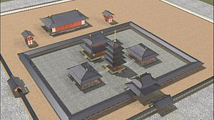 Japanese pagoda - A reconstruction of Asuka-dera's original layout with a pagoda at its center