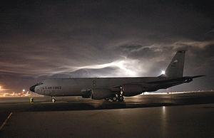 Transit Center at Manas - A KC-135 Stratotanker sits on the flightline at Manas Air Base.