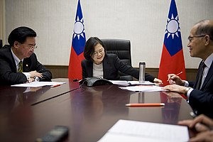 International reactions to the United States presidential election, 2016 - Tsai Ing-wen, President of Taiwan (centre), makes a phone call to U.S. President-elect Donald Trump on 2 December. Also pictured were Joseph Wu, Secretary-General of National Security Council (left), and David Lee, Minister of Foreign affairs (right).