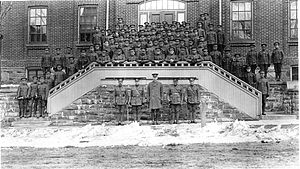162nd (Parry Sound) Battalion, CEF - The 162nd Battalion on the Court House steps in Parry Sound Ontario, 1916