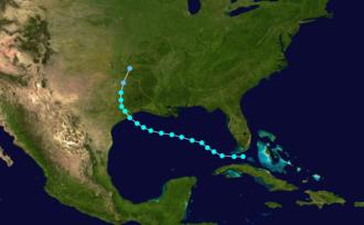 1871 Atlantic hurricane season - Image: 1871 Atlantic tropical storm 1 track