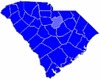 Blue counties were won by Hagood