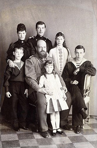 Grand Duke Michael Alexandrovich of Russia - Grand Duke Michael (far left) with his parents and siblings. Back row (left to right): Empress Marie, Grand Duke Nicholas (later Nicholas II), Grand Duchess Xenia, Grand Duke George. Front: Grand Duchess Olga. Middle: Alexander III.