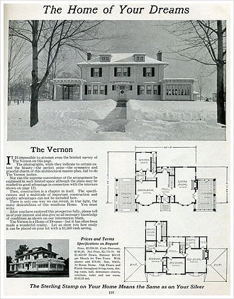 Kit house - An impressive Colonial Revival kit home offered by Sterling Homes in 1916