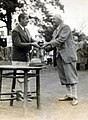 1927 Rydr Cup Worcester CC Walter Hagen Trophy Presentation Receives the Ryder Cup from Ted Ray .jpg