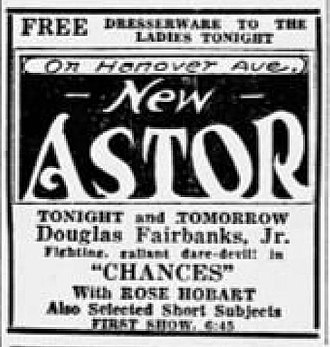 Chances (film) - Newspaper advertisement