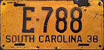 1938 South Carolina license plate.JPG