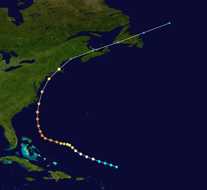 1944 Great Atlantic hurricane - Image: 1944 Atlantic hurricane 7 track
