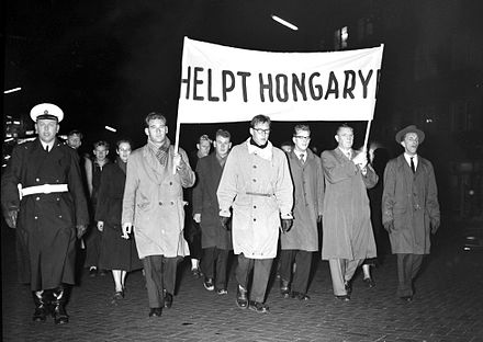 March to support Hungary in Eindhoven, the Netherlands, 5 November 1956 1956 november 5. Eindhoven.jpg