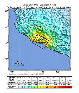 1985 Mexico City earthquake - USGS ShakeMap for the event