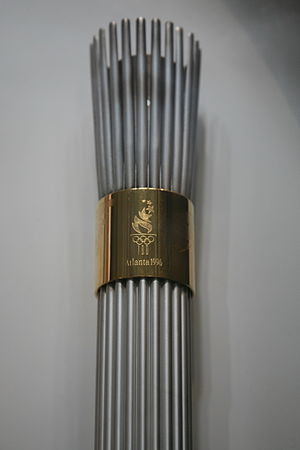 1996 Summer Olympics torch relay - Top section of a torch showing the logo of the 1996 Games