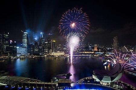 Singapore National Day Parade 2011 fireworks preview marina bay sands floating platform