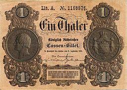 1 thaler allemand édité le 6 Septembre 1855