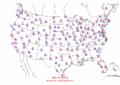 2002-10-09 Max-min Temperature Map NOAA.png