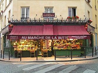 Amélie - Au Marché de la Butte, Rue des Trois Frères, Paris, used as the location of Monsieur Collignon's shop