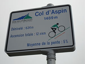 Col d'Aspin - Signpost at the summit providing information about the ascent from Sainte-Marie-de-Campan