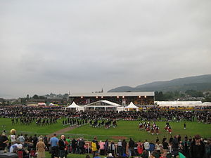 Cowal Highland Gathering - Pipe bands filing into the stadium for the salute to the chieftain and the award announcements at the 2008 event.