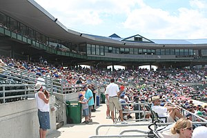Principal Park - A photograph of the seats behind home plate at Principal Park in 2009.