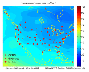 Total electron content - TEC plot for the continental USA, made on 11/24/2013.