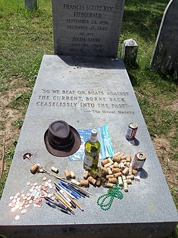 Fans of Fitzgerald often leave mementos at his grave. 2013 F. Scott and Zelda Fitzgerald grave 02.JPG