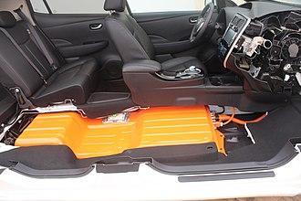 Nissan Leaf - Location of the Leaf lithium-ion battery pack below the seats
