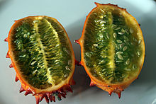 Fruit in cross section showing green flesh