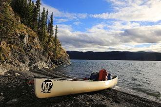 Lake Laberge - Crossing Lake Laberge by canoe