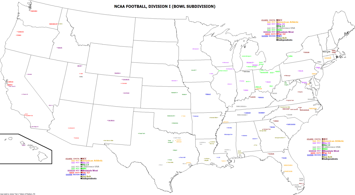 Map Of Texas Junior Colleges.List Of Ncaa Division I Fbs Football Programs Wikipedia