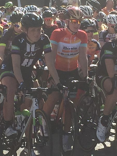 2015 Omloop van het Hageland, Floortje Mackaij & Demi de Jong before the start