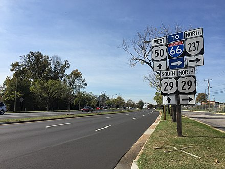The junction of US 29, US 50 and SR 237 in Fairfax 2016-10-26 13 03 36 View west along U.S. Route 50 and north along Virginia State Route 237 (Fairfax Boulevard) between Pickett Road and U.S. Route 29 (Lee Highway) in Fairfax, Virginia.jpg