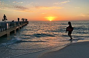 Anna Maria Island - a groin on Cortez Beach at sunset
