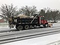 2020-12-16 11 59 28 A snow plow plowing Franklin Farm Road westbound just west of Virginia State Route 286 (Fairfax County Parkway) in the Franklin Farm section of Oak Hill, Fairfax County, Virginia.jpg