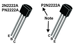"2N2222 - 2N2222A (TO-92) package pinout.  Note that parts that start with ""P2N"" have a different pinout than those that start with ""2N"" and ""PN"" (see text)."