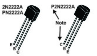 """2N2222 - 2N2222A (TO-92) package pinout.  Note that parts that start with """"P2N"""" have a different pinout than those that start with """"2N"""" and """"PN"""" (see text)."""