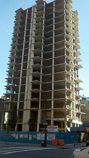 303 East 51st Street - The skeletal remains of the unfinished apartment building at 303 East 51st Street. Construction was halted after a fatal crane collapse on March 15, 2008.