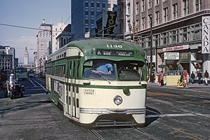 F Market & Wharves - A PCC Streetcar on the K Ingleside route on Market Street in 1967