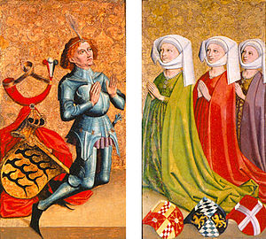 Margaret of Savoy, Duchess of Anjou - Margaret of Savoy (far right), pictured with her third husband Ulrich V, Count of Württemberg and his previous two wives.